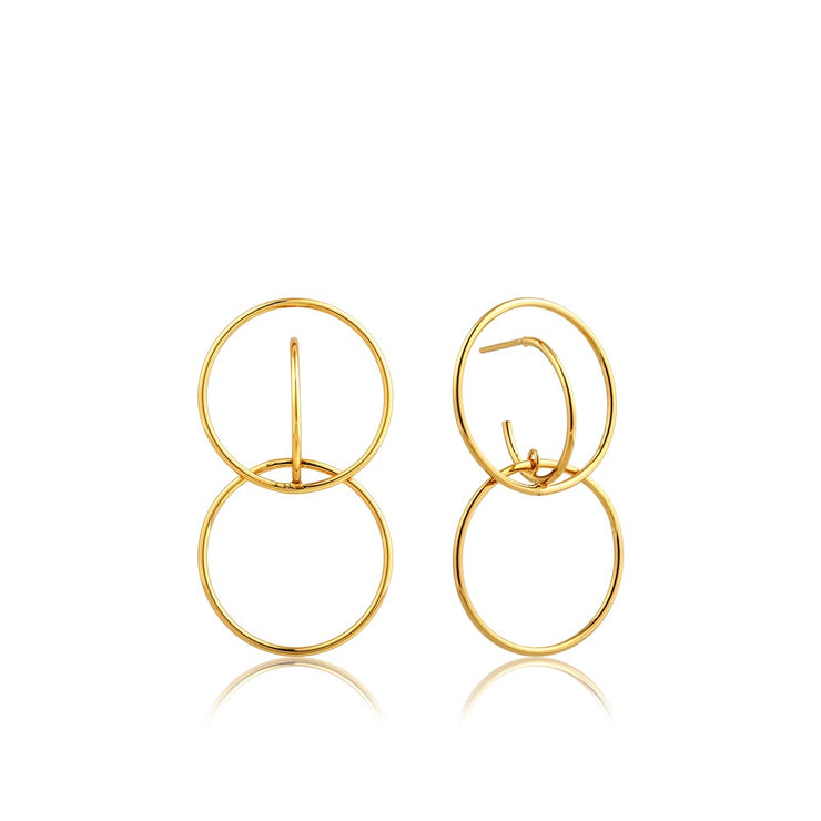 Ania Haie Double Circle Front Earrings - Gold
