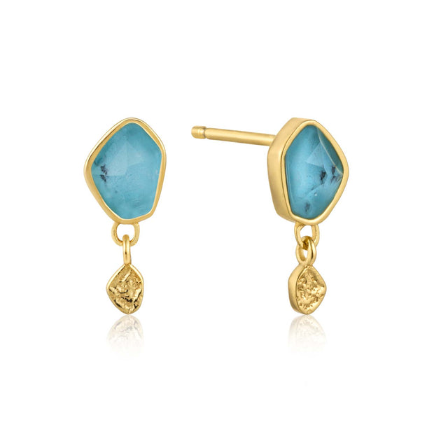 Ania Haie Turquoise Drop Stud Earrings - Gold