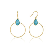 Ania Haie Turquoise Front Hoop Earrings - Gold