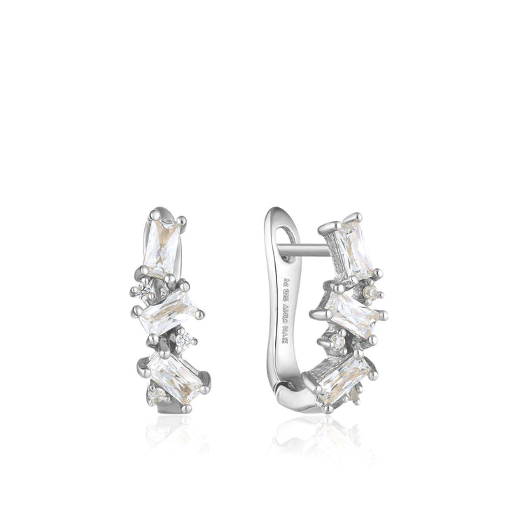 Ania Haie Cluster Huggie Earrings - Silver
