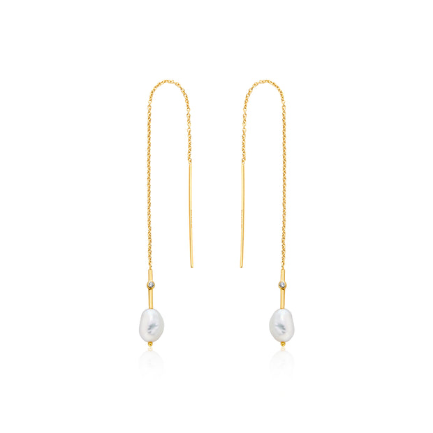 Ania Haie Pearl Threader Earrings Gold