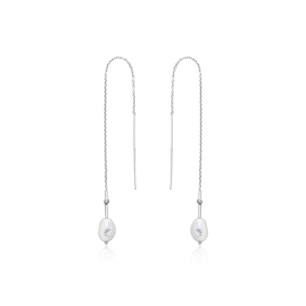 Ania Haie Pearl Threader Earrings Silver