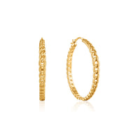 Ania Haie Curb Chain Hoop Earrings  - Gold