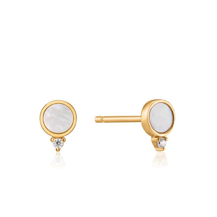 Ania Haie Mother Of Pearl Stud Earrings - Gold