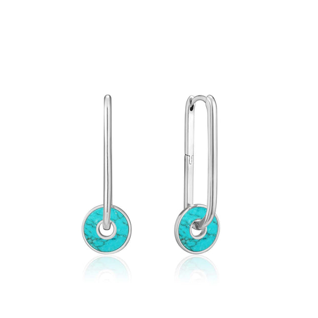 Ania Haie Turquoise Disc Hoop Earrings - Silver