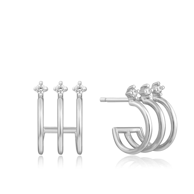Ania Haie Triple Mini Hoop Stud Earrings - Silver