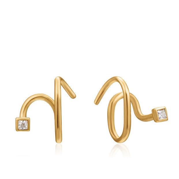 Ania Haie Twist Square Sparkle Earrings  - Gold
