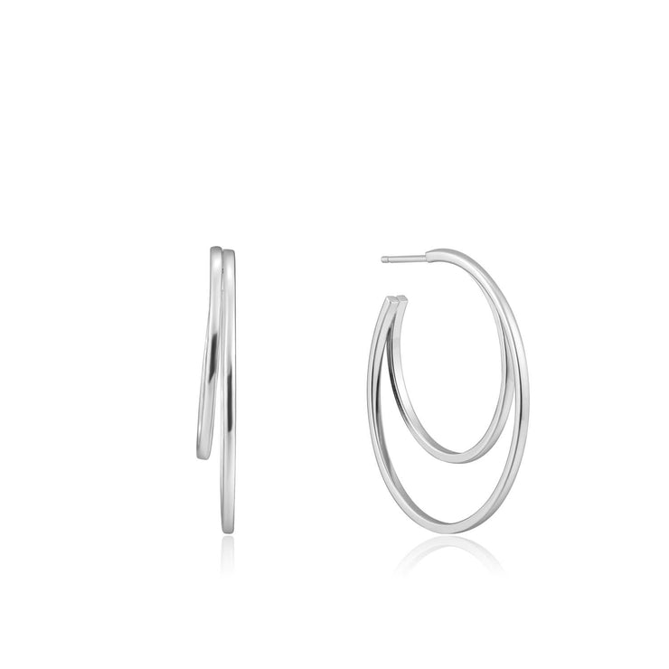 Ania Haie Crescent Hoop Earrings  - Silver
