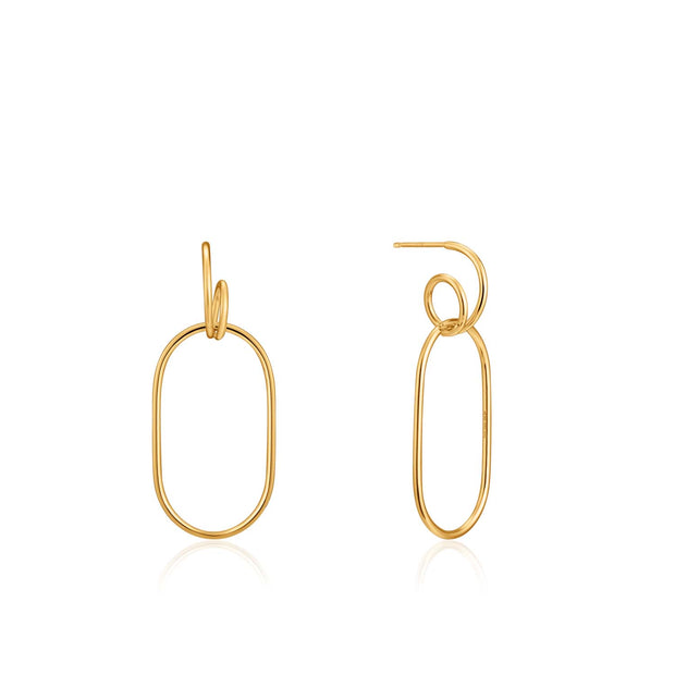 Ania Haie Spiral Oval Hoop Earrings  - Gold