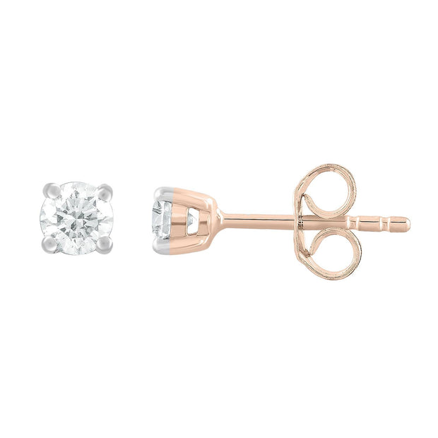 Stud Earrings with 0.3ct Diamonds in 9K Rose Gold