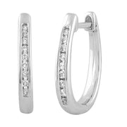 Huggie Earrings with 0.08ct Diamond in 9K White Gold