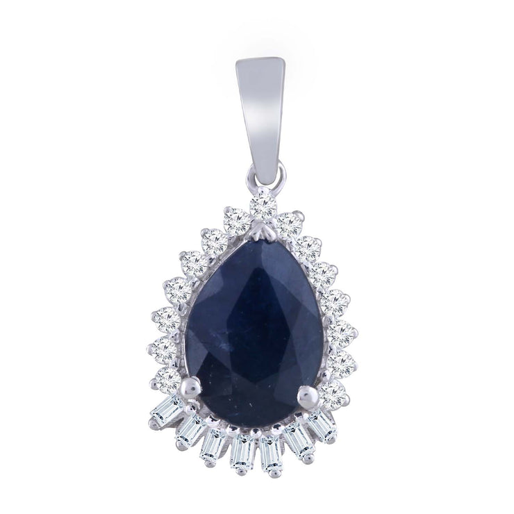 Pear Sapphire Pendant with 0.08ct Diamond in 9K White Gold