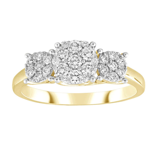 Cluster Ring with 0.5ct Diamond in 9K Yellow Gold