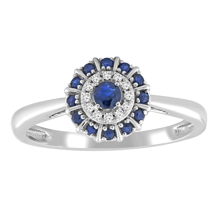 Sapphire Ring with 0.04ct Diamonds in 9K White Gold