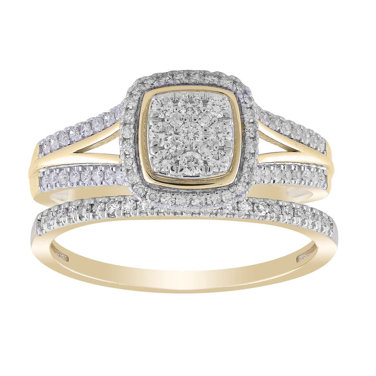 Cluster Ring Set with 0.5ct Diamonds in 9K Yellow Gold