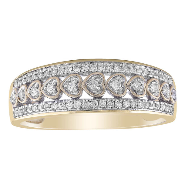 Layer Heart Ring with 0.2ct Diamond in 9K Yellow Gold