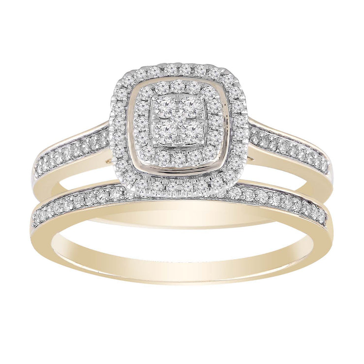 Cluster Ring Set with 0.35ct Diamond in 9K Yellow Gold