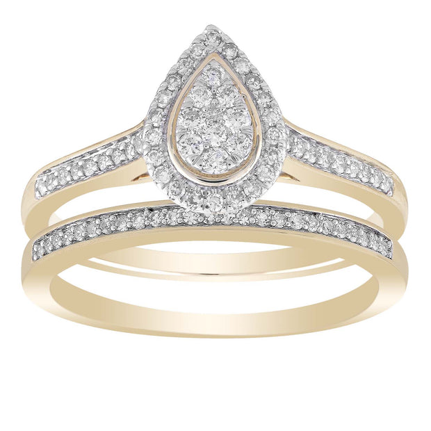 Pear Ring Set With0.35ct Diamond in 9K Yellow Gold