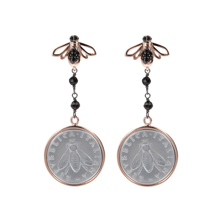 Bronzallure Lira and Bee Dangling Earrings Black Spinel