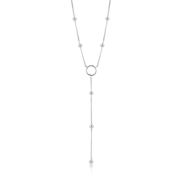 Ania Haie Modern Circle Y Necklace - Silver