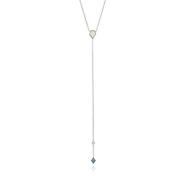 Ania Haie Turquoise And Opal Colour Y Necklace - Silver