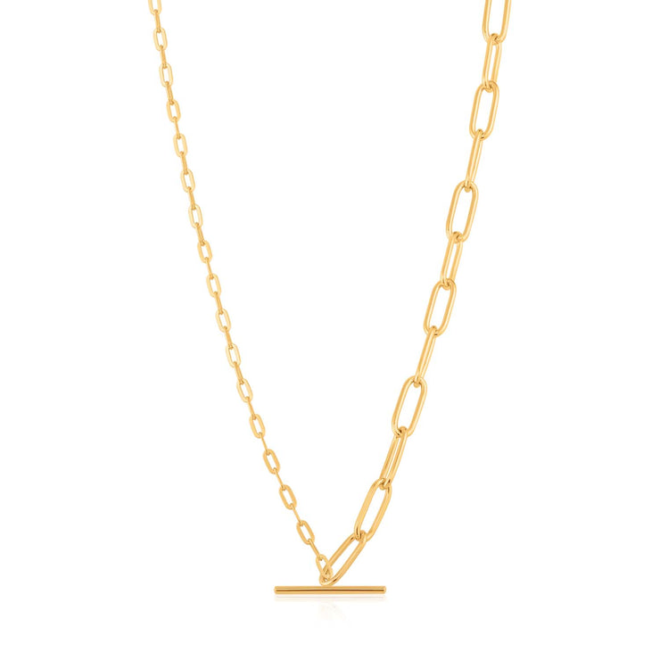 Ania Haie Mixed Link T-Bar Necklace  - Gold