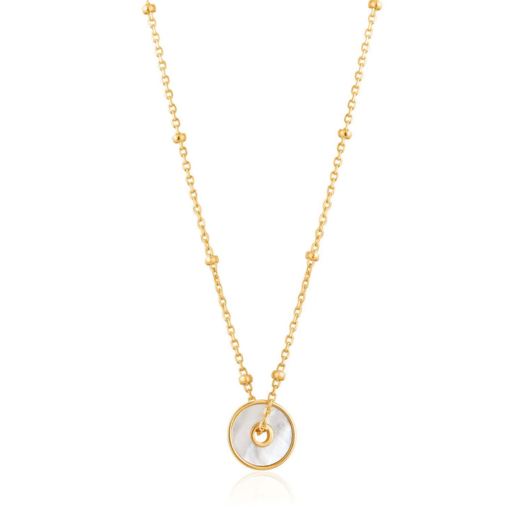 Ania Haie Mother Of Pearl Disc Necklace - Gold