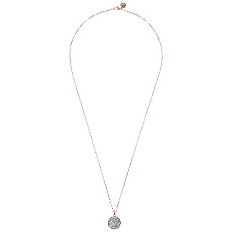 Bronzallure Pave Disc Necklace