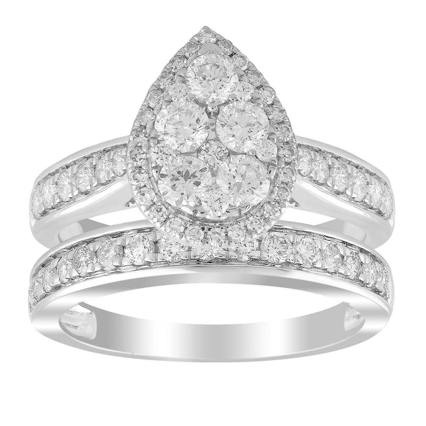 Pear Ring with 1.5ct Diamond in 18K White Gold