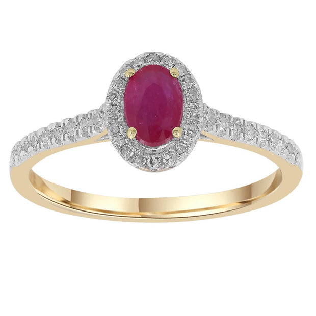 Ruby Ring with 0.15ct Diamonds in 9K Yellow Gold