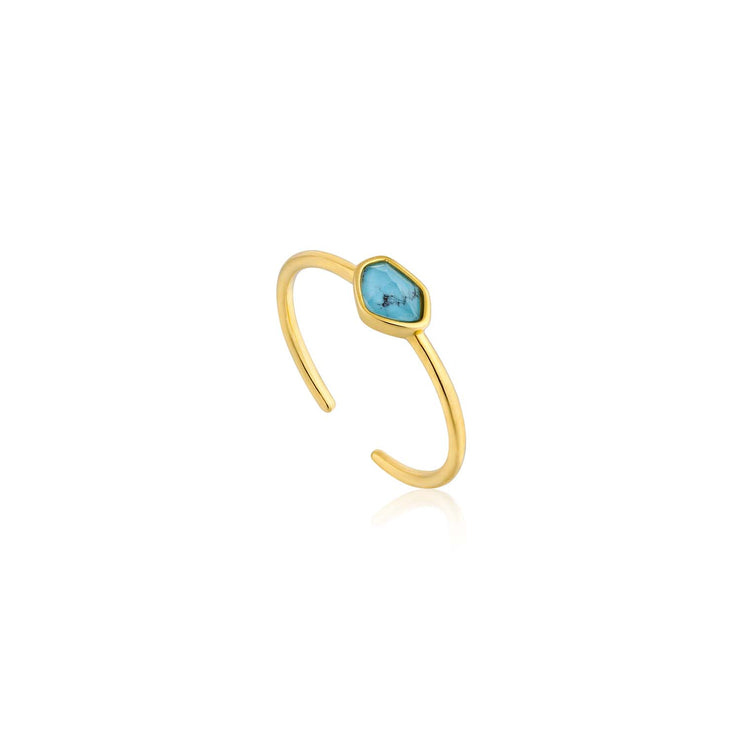 Ania Haie Turquoise Adjustable Ring - Gold