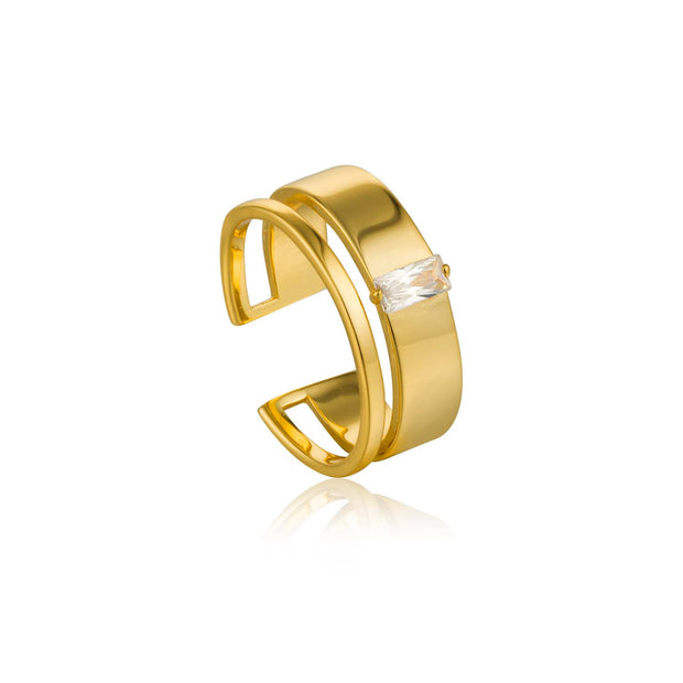 Ania Haie Glow Wide Adjustable Ring - Gold