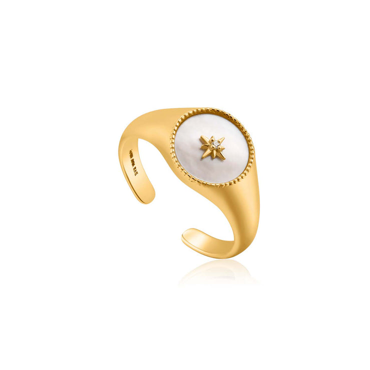 Ania Haie Mother Of Pearl Emblem Signet Ring - Gold