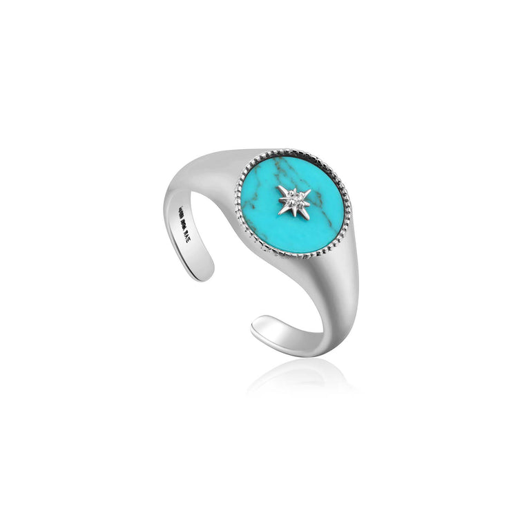 Ania Haie Turquoise Emblem Signet Ring - Silver