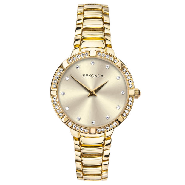 Sekonda Women's Gold Plated Stone Set Bracelet Watch SK40034