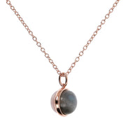 Bronzallure Cabochon Cut Genuine Gemstone Pendant Necklace