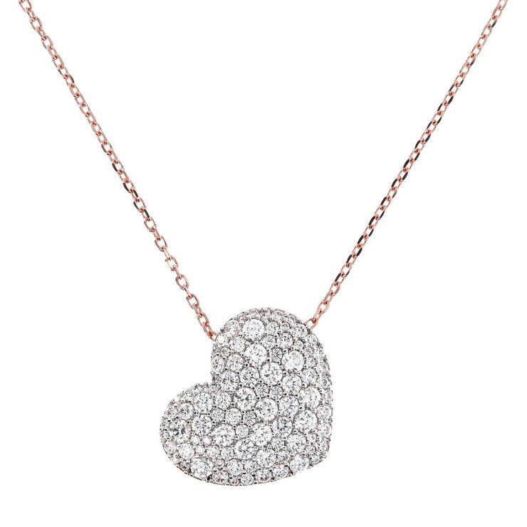 Bronzallure Heart Shaped Cubic Zirconia Pave Pendant Necklace