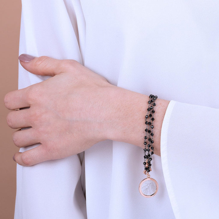 Bronzallure Lira with Bee Bracelet Black Spinel
