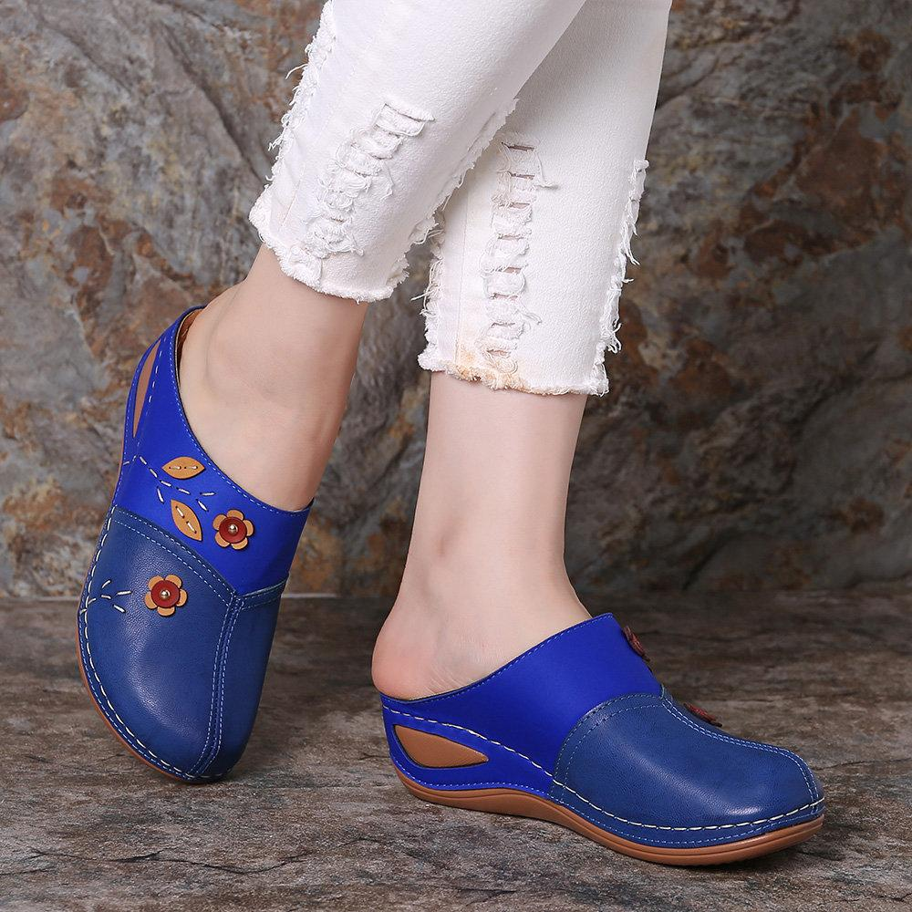 Women's Splicing Flower Stitching Comfortable Clogs Backless Wedges Sandals