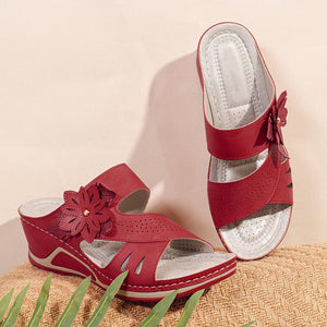 Women's Flower Peep Toe Stitching Casual Wedges Sandals