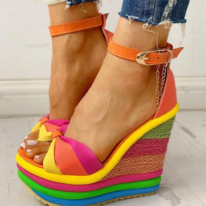 Colorful Rainbow Muffin Wedge Sandals -2020 NEW ARRIVAL