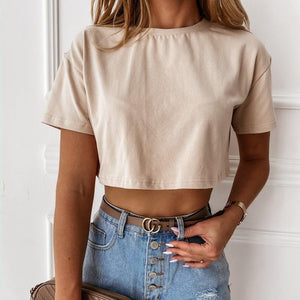 Womens Fashion Casual Exposed Navel T-shirt