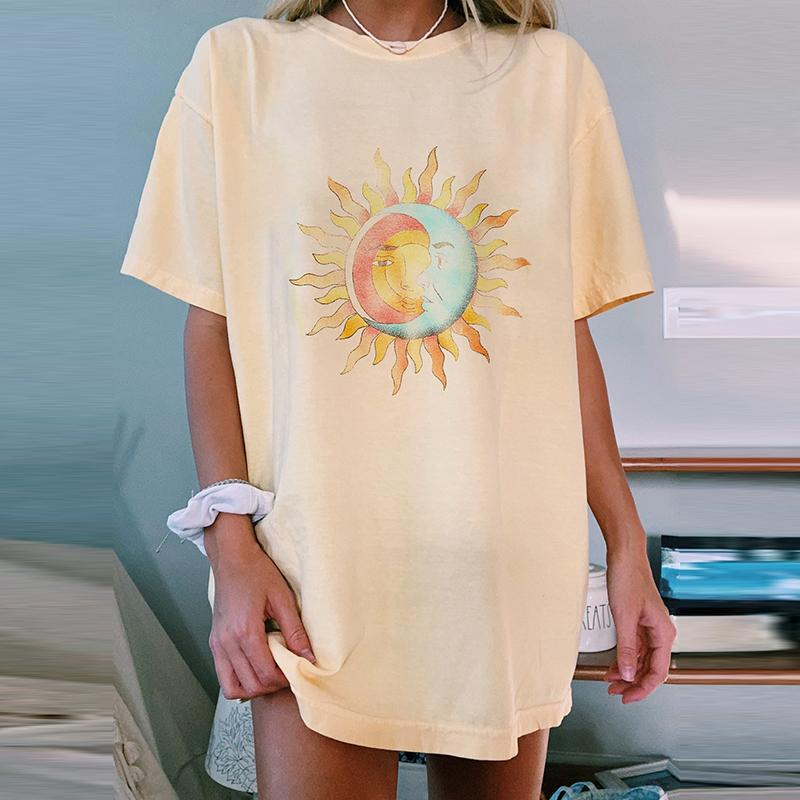 Casual Yellow Celestial Sun Moon T-shirt