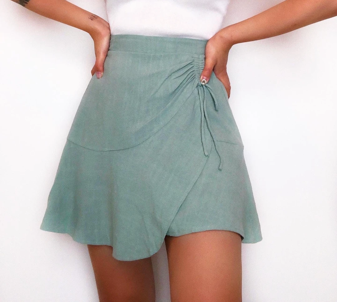 Fashionable summer cotton and linen skirt