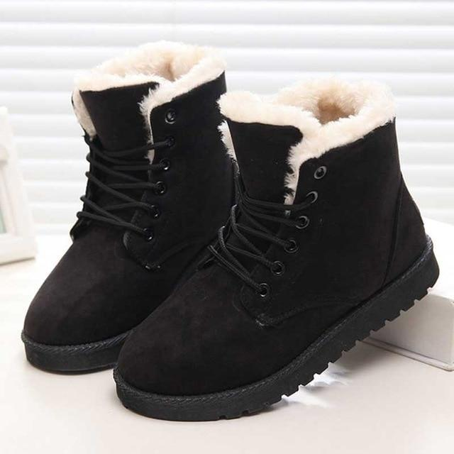🔥49% OFF TODAY🔥Women Warm Fur Plush Insole Suede Waterproof Ankle Snow Boots