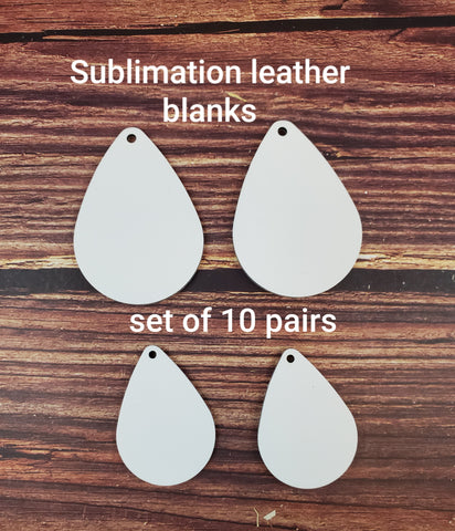 SET OF 10 PAIRS Sublimation LEATHER teardrop earring blanks, teardrop earring sublimation blanks, DOUBLE-sided teardrop earring shape blanks for sublimation