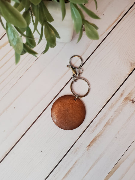 Wood disc keychain with silver ring and clasp, laser engraving wood disc keychain RTS