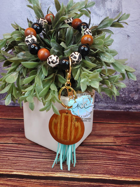 Wood disc with tassel or wood bead keychain bracelets