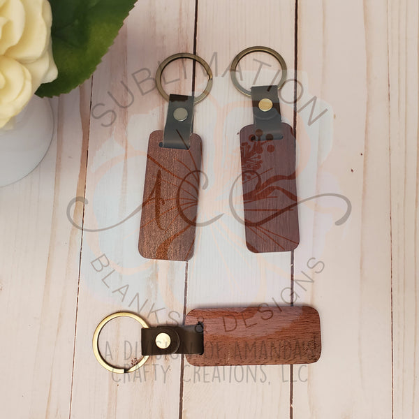 Wood keychain with key ring and leather, laser engraving wood keychain RTS