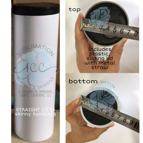 20 oz STRAIGHT Sublimation ready SHIMMER skinny tumbler RTS